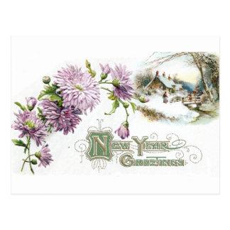 Postal Año Nuevo del vintage púrpura de las momias con la