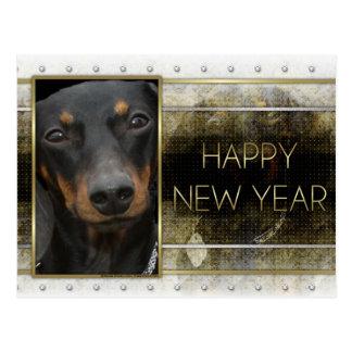 Postal Año Nuevo - elegancia de oro - Dachshund Winston
