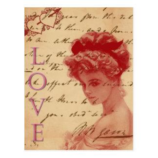 Postal antigua de la letra de amor