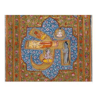 Postal antigua del arte, símbolo hindú de OM Aum