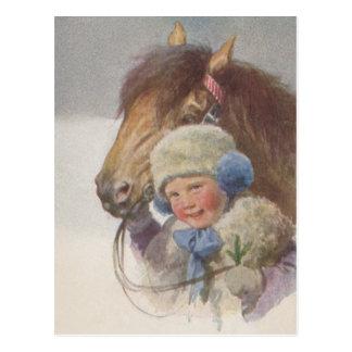 Postal antigua del caballo del potro de la memoria