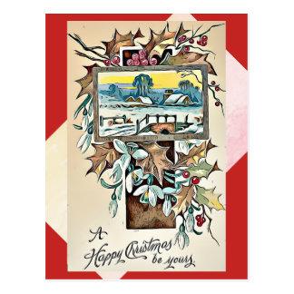 Postal antigua del navidad con santo y los