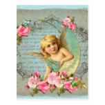Postal Antigüedad azul del rosa color de rosa del vintage