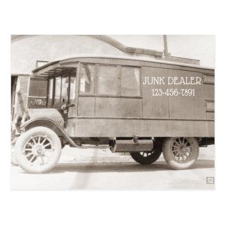 Postal Antigüedades del monocromo del camión de la