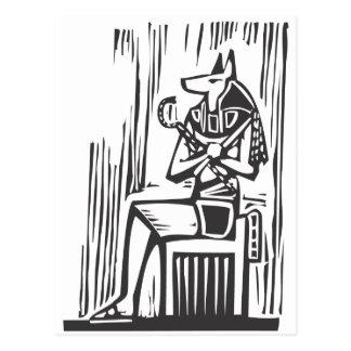 Postal Anubis que se sienta egipcio