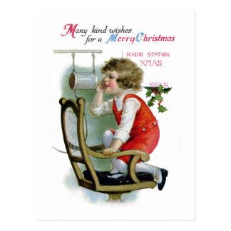 Postal Anunciador de radio para Navidad de la estación