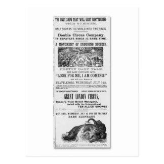 Postal Anuncio de circo de gran Londres