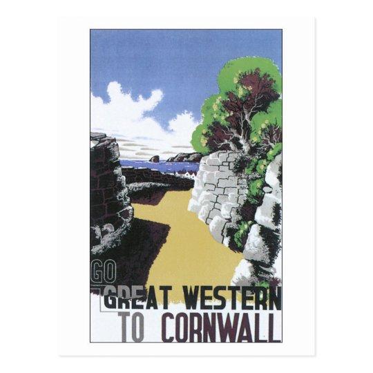 Postal Anuncio de Great Western Cornualles del vintage