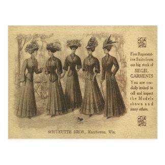 Postal Anuncio de la moda del vintage