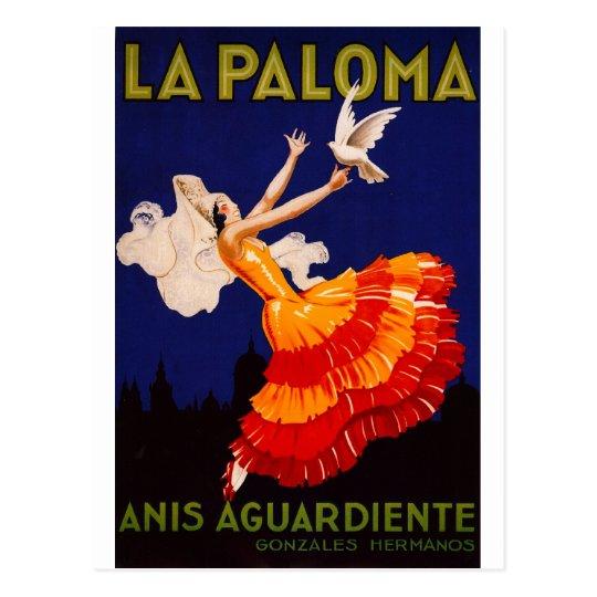 Postal Anuncio del licor del vintage de Paloma del La