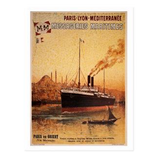 Postal Anuncio del viaje de la nave de París Lyon