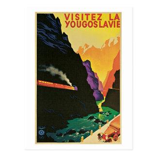 Postal Anuncio del viaje de Yugoslavia de la visita de