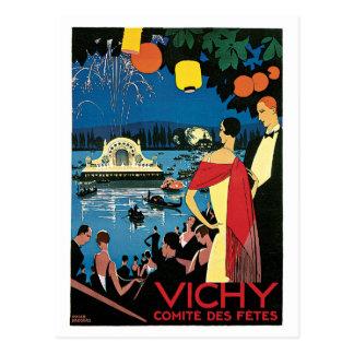 Postal Anuncio del viaje del francés de Vichy de los años