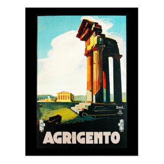 Postal Anuncio del viaje del vintage de Agrigento