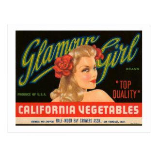 Postal Anuncio del vintage de las verduras de California