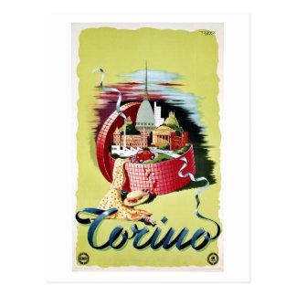 Postal Anuncio italiano retro del viaje de Turín Torino