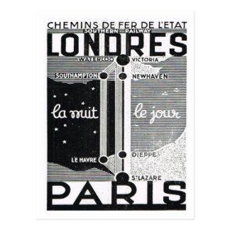 Postal Anuncio, poster Londres del carril a París