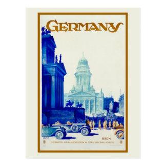 Postal Anuncio retro del viaje de Berlín Alemania del