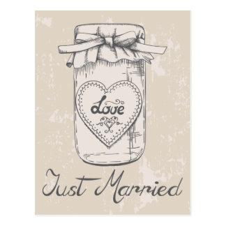 Postal Apenas boda casado de Brown del moreno de los