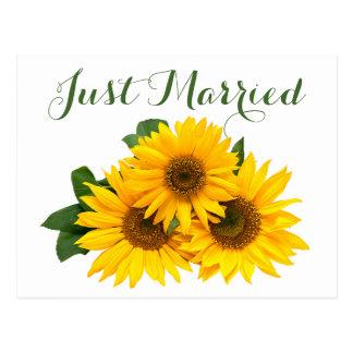 Postal Apenas boda casado floral del verde amarillo del