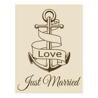 Postal Apenas boda casado náutico de Brown del ancla de