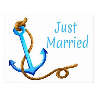 Postal Apenas boda casado náutico del ancla de la