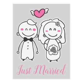 Postal Apenas novia y novio grises rosados casados del