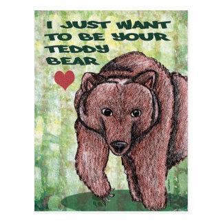 Postal Apenas quiero ser su oso de peluche