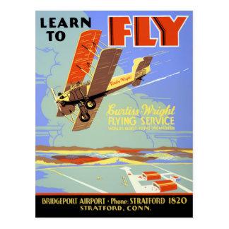 Postal Aprenda volar el poster del vintage restaurado
