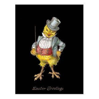 Postal apuesta de Pascua del vintage del polluelo