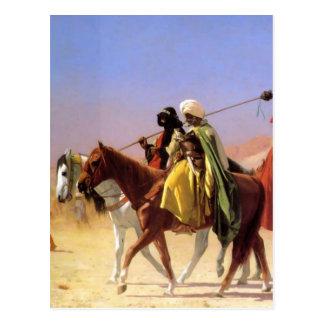 Postal Árabes que cruzan el desierto por Jean-León Gerome