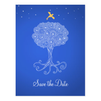 Postal Árbol adornado de la reserva del azul de la vida