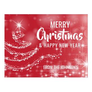 Postal Árbol blanco rojo de la Feliz Año Nuevo de las