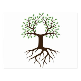 Postal árbol con las raíces