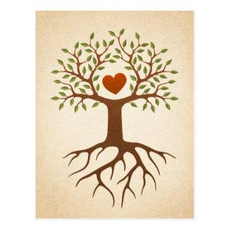 Postal Árbol con las raíces y las ramas que rodean un