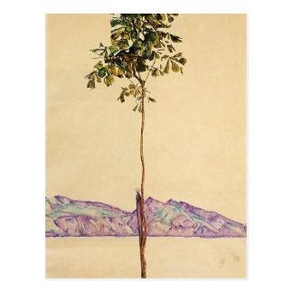 Postal Árbol de castaña de Egon Schiele- en el lago de