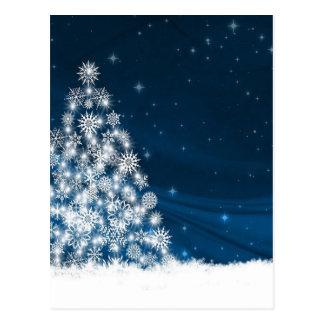 Postal Árbol de navidad blanco Nevado del cielo azul