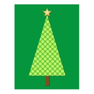 Postal Árbol de navidad moderno del lunar de la verde