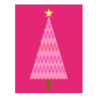 Postal Árbol de navidad moderno rosado coralino de Ombre