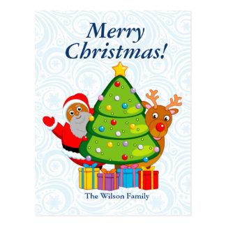Postal Árbol de navidad negro con Papá Noel y Rudolph,