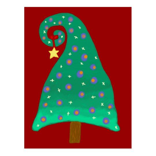 Postal Árbol de navidad verde caprichoso