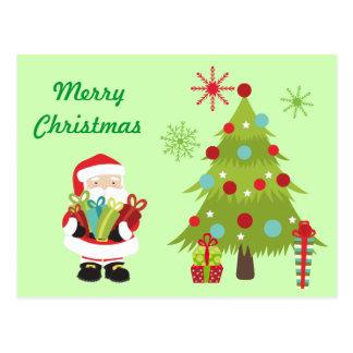 Postal Árbol de navidad y Santa w/Presents