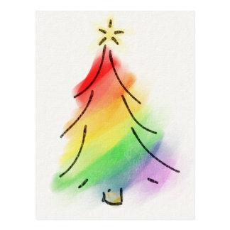 Postal Árbol del día de fiesta del arco iris