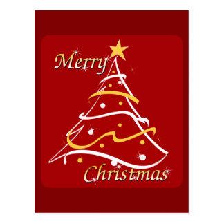 Postal Árbol del rojo de las Felices Navidad