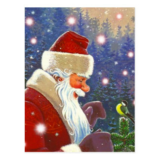 Postal Arbolado Santa del vintage y primero del árbol del