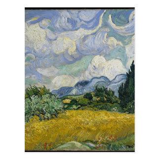 Postal Arboleda de Cypress y campo de trigo