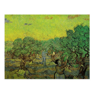 Postal Arboleda verde oliva con las figuras de la cosecha