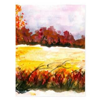 Postal Árboles abstractos del otoño del arte del paisaje