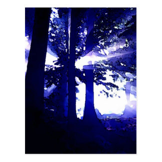 Postal Árboles azules de la noche
