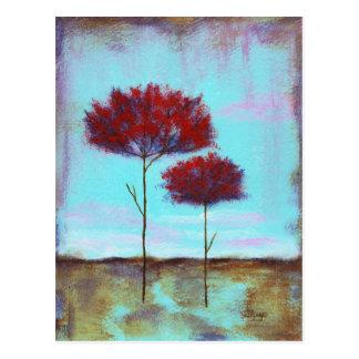 Postal Árboles del rojo del paisaje del arte acariciado,